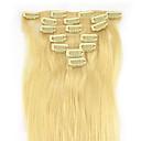 Χαμηλού Κόστους Συνθετικές περούκες χωρίς σκουφί-PANSY Κουμπωτό Επεκτάσεις ανθρώπινα μαλλιών Ίσιο Remy Τρίχα Φυσικά μαλλιά 15 inch Μαύρο / Λευκό Ξανθό
