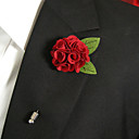 baratos Bouquets de Noiva-Homens Broches Flor Broche Jóias Vermelho Para