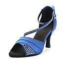 ราคาถูก รองเท้าเต้นโมเดิร์นและรองเท้าบัลเล่ต์-สำหรับผู้หญิง รองเท้าเต้นรำ ซาติน ลาติน / บอลล์รูม คริสตัล รองเท้าแตะ ส้นแบบกำหนดเอง ตัดเฉพาะได้ น้ำเงิน / ม่วง / หนังสัตว์ / หนังสัตว์ / EU39