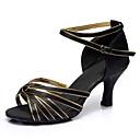 ราคาถูก รองเท้าแบบลาติน-สำหรับผู้หญิง รองเท้าเต้นรำ ซาติน ลาติน หัวเข็มขัด ส้น ส้นแบบกำหนดเอง ตัดเฉพาะได้ สีดำและสีทอง / Performance