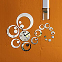 povoljno Zidni satovi-modni izmjenjivi sat ogledalo stil DIY umjetnosti zidne naljepnice za dom dekor (srebro) \ t