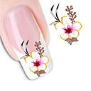 billiga nagellacksbort-1 pcs 3D Nagelstickers Vattenöverföringsklistermärke nagel konst manikyr Pedikyr Blomma / Abstrakt / Mode Dagligen / 3D Nail Stickers