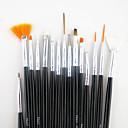 billiga Modeller & Modellpaket-15st svart handtag nail art designs målning teckning penna pensel set&5st 2-vägs utspridda pennverktyget marbleizing