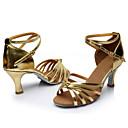 ราคาถูก รองเท้าเต้นโมเดิร์นและรองเท้าบัลเล่ต์-สำหรับผู้หญิง รองเท้าเต้นรำ ไหม ลาติน / บอลล์รูม หัวเข็มขัด / ผูกริบบิ้น รองเท้าแตะ ส้นแบบกำหนดเอง ตัดเฉพาะได้ น้ำเงิน / ทอง / สีบานเย็น / หนังนิ่ม / ในที่ร่ม / ฝึก / มืออาชีพ