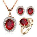 Χαμηλού Κόστους Σετ Κοσμημάτων-Γυναικεία Κρυστάλλινο Συνθετικό Diamond Σετ Κοσμημάτων Πασιέντζα Οβάλ Cerc κυρίες Πετράδια σχετικά με τον μήνα γέννησης Κρύσταλλο Cubic Zirconia Προσομειωμένο διαμάντι Σκουλαρίκια Κοσμήματα Κόκκινο