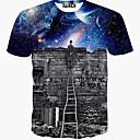 Χαμηλού Κόστους Σετ τσάντες-Ανδρικά T-shirt Αθλητικά Στάμπα Βαθυγάλαζο / Κοντομάνικο