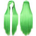 Χαμηλού Κόστους θεμέλιο-Περούκες για Στολές Ηρώων Συνθετικές Περούκες Περούκες Στολών Ίσιο Ίσια Με αφέλειες Περούκα Ξανθό Ροζ Μακρύ Μαύρο Καφέ Βυσσινί Ξανθό Πράσινο Συνθετικά μαλλιά Γυναικεία Πλευρικό μέρος