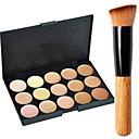 baratos Corretivos & Contornos-15 cores Concealer / Contour Pincéis de Maquiagem 1 pcs Secos / Combinação / Oleoso Rosto Maquiagem Cosmético