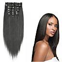 billiga Syntetisk hårförlängning-Klämma in Människohår förlängningar Rak Äkta hår Kolsvart