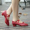 ราคาถูก รองเท้าเต้นโมเดิร์นและรองเท้าบัลเล่ต์-สำหรับผู้หญิง รองเท้าเต้นรำ หนังเทียม บัลเล่ต์ ลูกไม้ขึ้น ส้นแยก ส้นหนา ไม่ตัดเฉพาะ ดำ / แดง / ชมพู / EU38