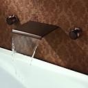 billige Hairextension med naturlig farge-Baderom Sink Tappekran - Foss Olje-gnidd Bronse Vægmonteret Tre Huller / To Håndtak tre hullBath Taps / Messing