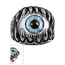 ราคาถูก แหวนผู้ชาย-สำหรับผู้ชาย แหวน สีดำ เหล็กกล้าไร้สนิม Titanium Steel Punk ที่มา เครื่องประดับ ตาปีศาจ มายากล