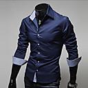 זול חבילות שתיה ומימיות מים-אחיד צווארון קלאסי רזה עסקים עבודה מידות גדולות חולצה - בגדי ריקוד גברים בסיסי כחול כהה / שרוול ארוך / אביב / סתיו