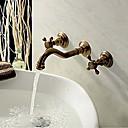 billiga Tvättställsblandare-Badrum Tvättställ Kran - Utbredd Antik koppar Väggmonterad Tre hål / Två handtag tre hålBath Taps