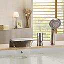 Χαμηλού Κόστους Βρύσες Μπανιέρας-Βρύση Μπανιέρας - Σύγχρονο Βουρτσισμένο Νικέλιο Μπανιέρα και Ντουζιέρα Κεραμική Βαλβίδα Bath Shower Mixer Taps / Ορείχαλκος / Ενιαία Χειριστείτε τρεις οπές