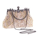 cheap Clutches & Evening Bags-Women's Imitation Pearl / Crystal / Rhinestone Polyester Evening Bag Rhinestone Crystal Evening Bags Geometric Champagne / Black / Gold