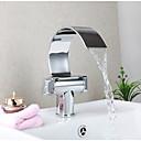 billiga Robotar och tillbehör-Badrum Tvättställ Kran - Vattenfall / Roterbar Krom Centerset Ett hål / Singel Handtag Ett hålBath Taps