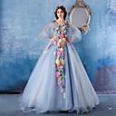 Χαμηλού Κόστους Φορέματα Λολίτα-Βραδινή τουαλέτα Λαιμόκοψη V Μακριά ουρά Σατέν / Τούλι Λουλουδάτο Επίσημο Βραδινό Φόρεμα 2020 με Λουλούδι