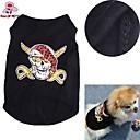 billiga Action- och leksaksfigurer-Katt Hund T-shirt Hundkläder Svart Kostym Cotton Dödskalle Cosplay Bröllop XS S M L