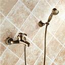 billiga Badkarskranar-Duschkran / Badkarskran - Antik Antik mässing Badkar och dusch Keramisk Ventil Bath Shower Mixer Taps / Enda handtag Två hål
