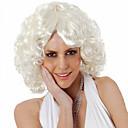 billiga Hundkläder-Syntetiska peruker Lockigt Lockigt Asymmetrisk frisyr Peruk Korta Vit Syntetiskt hår Dam Naturlig hårlinje Mittbena Vit