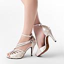 Χαμηλού Κόστους Παπούτσια χορού λάτιν-Γυναικεία Παπούτσια Χορού PU Δέρμα / Σατέν Παπούτσια χορού λάτιν / Παπούτσια σάλσα Αγκράφα Πέδιλα Προσαρμοσμένο τακούνι Εξατομικευμένο Γκρίζο / Δερματί / Μαύρο / EU41