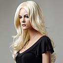 billige Kostymeparykk-Syntetiske parykker Bølget Stil Parykk Blond Medium Lengde Blond Syntetisk hår Dame Blond Parykk