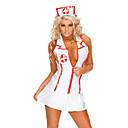 billiga Sexiga uniformer-Cosplay Kostymer/Dräkter Festklädsel Sjuksköterskor Karriär Dräkter Festival/högtid Halloweenkostymer Vit Färgblock ÖrhängeHalloween Jul