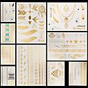 billiga tatuering klistermärken-10 pcs Metallisk Tatueringsklistermärken tillfälliga tatueringar Blomserier / Smyckeserier Vattentät / Ogiftig / Halloween Body art händer /  brachium / Mönster / Ländrygg