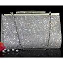 billiga Kuvertväskor och aftonväskor-Dam Kristalldetaljer PU läder Aftonväska Rhinestone Crystal Evening Bags Guld / Silver