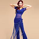 ราคาถูก ชุดเต้นระบำหน้าท้อง-ชุดเต้นระบำหน้าท้อง Outfits สำหรับผู้หญิง การฝึกอบรม / Performance Tulle / เส้นใยโปรตีนจากนม พู่ แขนสั้น Top / กางเกง / ผ้าพันสะโพกสำหรับระบำหน้าท้อง