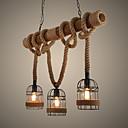 ราคาถูก ก๊อกน้ำห้องครัว-3-light เชือกป่านไฟจี้โคมอื่น ๆ ไม้ / ไม้ไผ่มินิสไตล์ 110-120 โวลต์ / 220-240 โวลต์วอร์มสีขาวหลอดไฟไม่รวม / e26 / e27