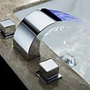 billiga LED-duschhuvuden-Badrum Tvättställ Kran - Vattenfall Krom Horisontell montering Tre hål / Två handtag tre hålBath Taps / Mässing