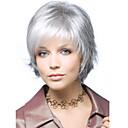 billiga Syntetiska peruker utan hätta-Syntetiska peruker Vågigt Kardashian Stil Utan lock Peruk Vit Silver Syntetiskt hår Dam Vit Peruk Korta