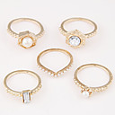 billige Smykkesett-Dame Ring Set 5pcs Gull Svart Sølv Legering damer Uvanlig Unikt design Daglig Smykker