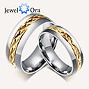 povoljno Muško prstenje-Žene Band Ring Prstenovi za utore Zlato Gold / bijela Čelik Moda Party Jewelry