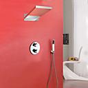 Χαμηλού Κόστους Απλίκες Τοίχου-Βρύση Ντουζιέρας - Σύγχρονο Χρώμιο Επιτοίχιες Βαλβίδα Ορείχαλκου Bath Shower Mixer Taps / Ορείχαλκος / Δύο λαβές τρεις οπές