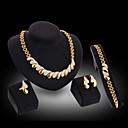 זול סט תכשיטים-בגדי ריקוד נשים זירקונה מעוקבת סט תכשיטים שרשרת עגיל שני גוונים צ'אנקי הצהרה נשים אלגנטית פסטיבל / חג דובאי Italian ציפוי זהב 18 קאראט עגילים תכשיטים זהב עבור / צמיד / טבעת