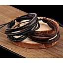 billiga Modearmband-Herr Dam Armband av Remmar Läder Armband Multi lager stapelbar vävd Billig damer Multi lager Läder Armband Smycken Svart / Kaffe Till Dagligen Casual