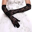 Χαμηλού Κόστους Συνθετικές περούκες χωρίς σκουφί-Δαντέλα / Πολυεστέρας Πάνω από τον αγκώνα Γάντι Klasika / Νυφικά Γάντια / Βραδινά / Πάρτυ Γάντια Με Μονόχρωμο