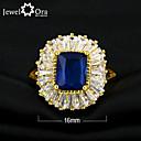 Χαμηλού Κόστους Χαραγμένο Δαχτυλίδια-Γυναικεία Σκούρο μπλε Βαθυγάλαζο Επιχρυσωμένο Κομψό Καθημερινά Κοσμήματα Emerald Cut