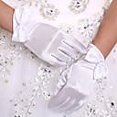 Χαμηλού Κόστους Μοντέλα και μοντέλα-Ελαστικό Σατέν Μέχρι τον καρπό Γάντι Νυφικά Γάντια With Φιόγκος