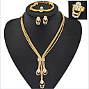 billiga Jewelry Set-Smycken Set damer Lyx Vintage Fest Länk / kedja Europeisk Kubisk Zirkoniumoxid Diamantimitation örhängen Smycken Guld Till Party Speciellt Tillfälle Årsdag Födelsedag Gåva / Örhängen