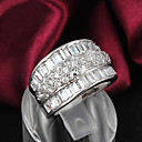 billiga Moduler-Dam Bandring Silver Sterlingsilver Zircon Bergkristall damer Bröllop Party Smycken / Försilvrad / Försilvrad