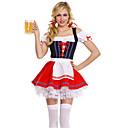 baratos Roupas de Mergulho & Camisas de Proteção-Oktoberfest Dirndl Trachtenkleider Mulheres Vestido Cinto Bávaro Ocasiões Especiais Vermelho / Elastano