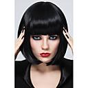 Χαμηλού Κόστους Συνθετικές περούκες χωρίς σκουφί-Συνθετικές Περούκες Ίσιο Ίσια Κούρεμα καρέ Με αφέλειες Περούκα Κοντό Συνθετικά μαλλιά Γυναικεία Μαύρο StrongBeauty