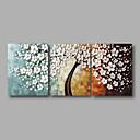 billiga Abstrakta målningar-Hang målad oljemålning HANDMÅLAD - Blommig / Botanisk Moderna Inkludera innerram / Tre paneler / Sträckt kanfas
