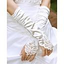 Χαμηλού Κόστους Γάντια για πάρτι-Βαμβάκι / Σατέν / Πολυεστέρας Μέχρι τον καρπό / Μέχρι τον αγκώνα Γάντι Φυλαχτό / Στυλάτο / Νυφικά Γάντια Με Ακρυλικό / Κέντημα / Μονόχρωμο