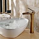 זול ברזים לחדר האמבטיה-מסורתי כלי מפל מים שסתום קרמי חור ידית אחת אחת עתיקה, חדר רחצה כיור ברז