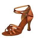 povoljno Cipele za latino plesove-Žene Plesne cipele Saten / Umjetna koža Cipele za latino plesove Kopča Sandale / Štikle Kockasta potpetica Moguće personalizirati Crna / Bijela / Smeđa / Unutrašnji / Seksi blagdanski kostimi / Koža